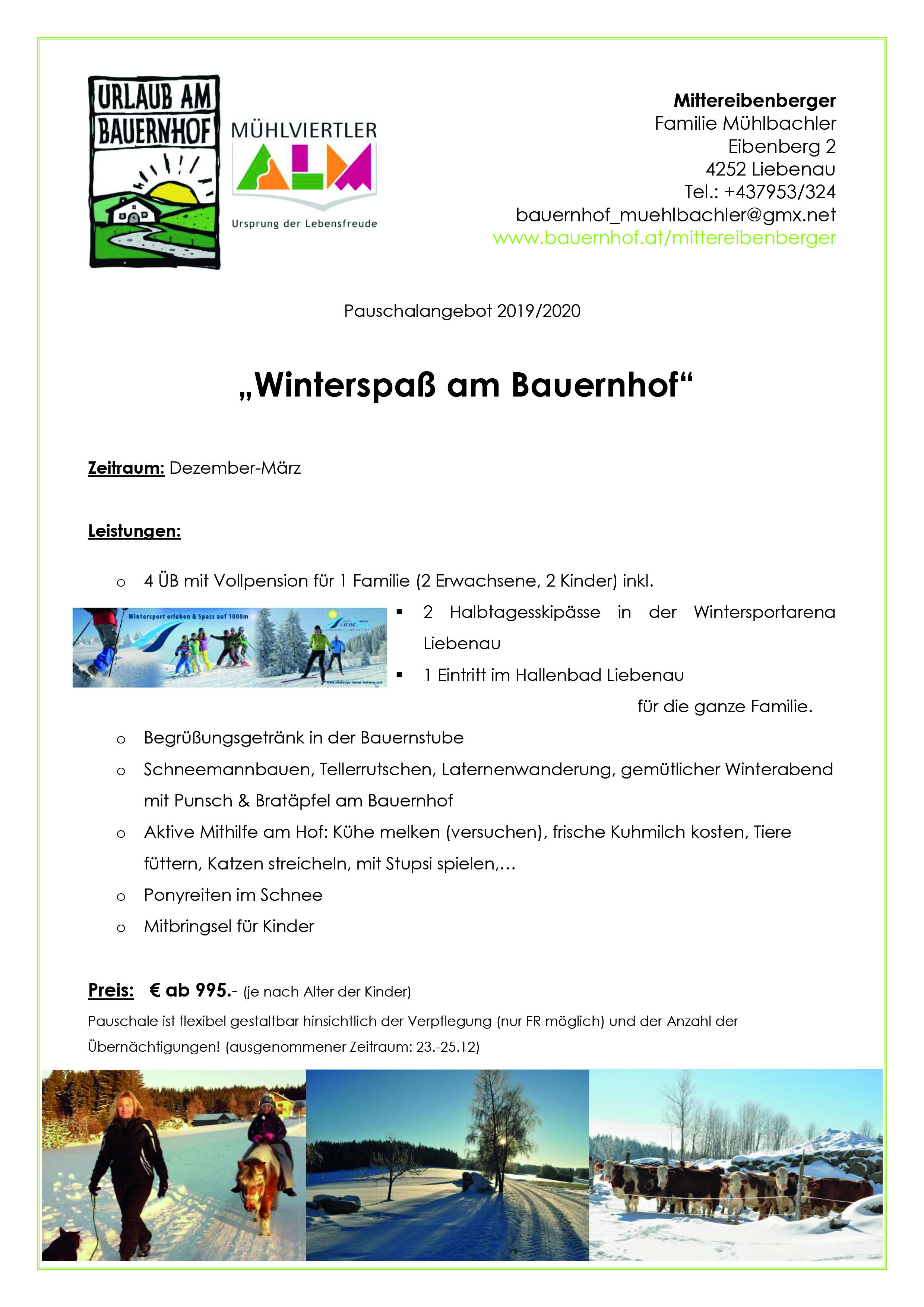 Pauschale Winterspa am Bauernhof 2019 2020